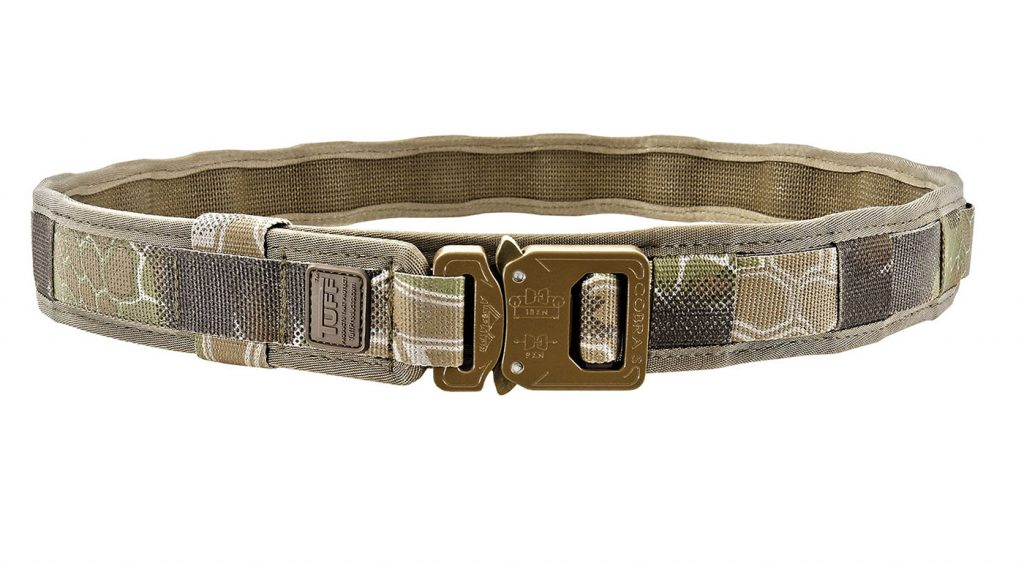 Single-time-adjust, easy feeding through belt loops and fully customizable color combinations are some of the highlights of the TUFF E.D.C. Belt.