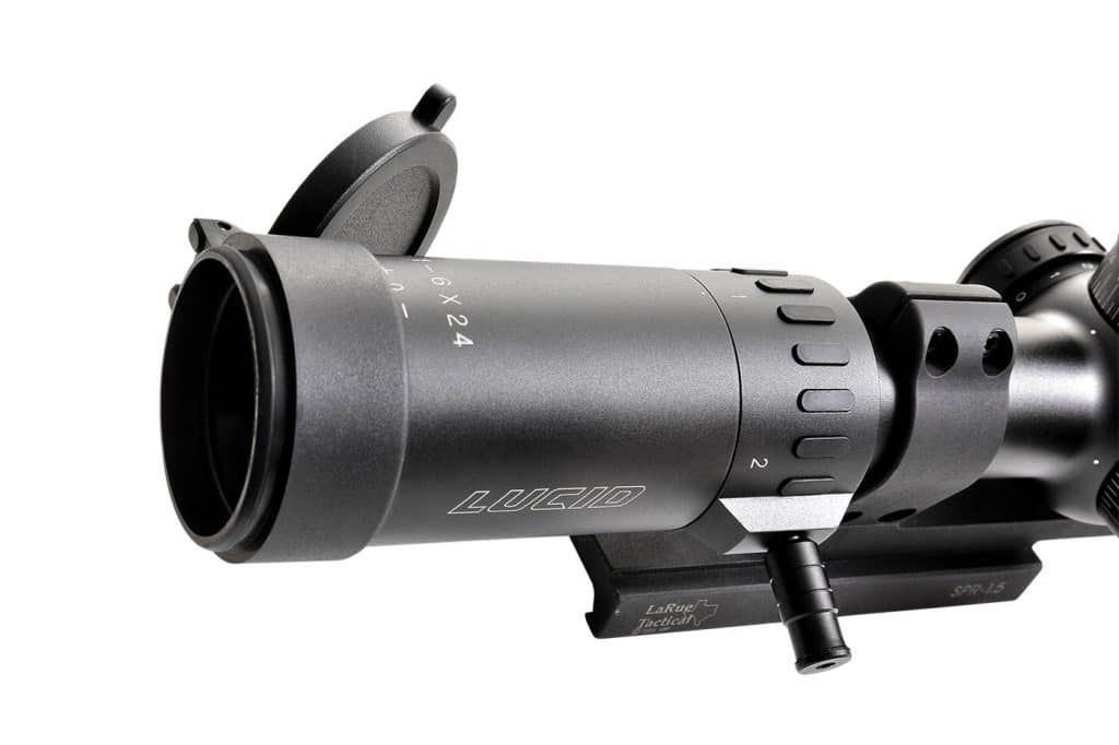 The optional Lucid fast lever makes transitioning between magnification ranges a quick, gross-motorskill operation. Scope caps are included.